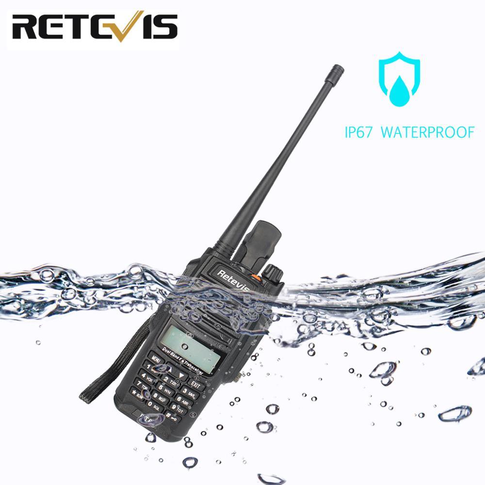 Retevis RT6 Waterproof Walkie Talkie IP67 5W 128CH Dual Band VHF UHF Radio VOX FM LCD Display Portable Walk Talk Walkie-Talkie
