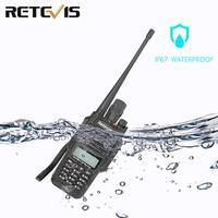 128ch 5w vhf uhf Retevis RT6 Waterproof מכשיר הקשר IP67 5W 128CH Dual Band VHF UHF רדיו FM VOX LCD תצוגה ניידת ללכת לדבר ווקי טוקי (1)