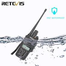 купить Retevis RT6 Waterproof Walkie Talkie IP67 5W 128CH Dual Band VHF UHF Radio VOX FM LCD Display Portable Walk Talk Walkie-Talkie дешево