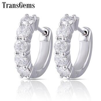 Transgems Sterling Moissanite Hoop Earrings for Women 3.5mm H Color Moissanite Diamond Hoop Earrings Platinum Plated Silver