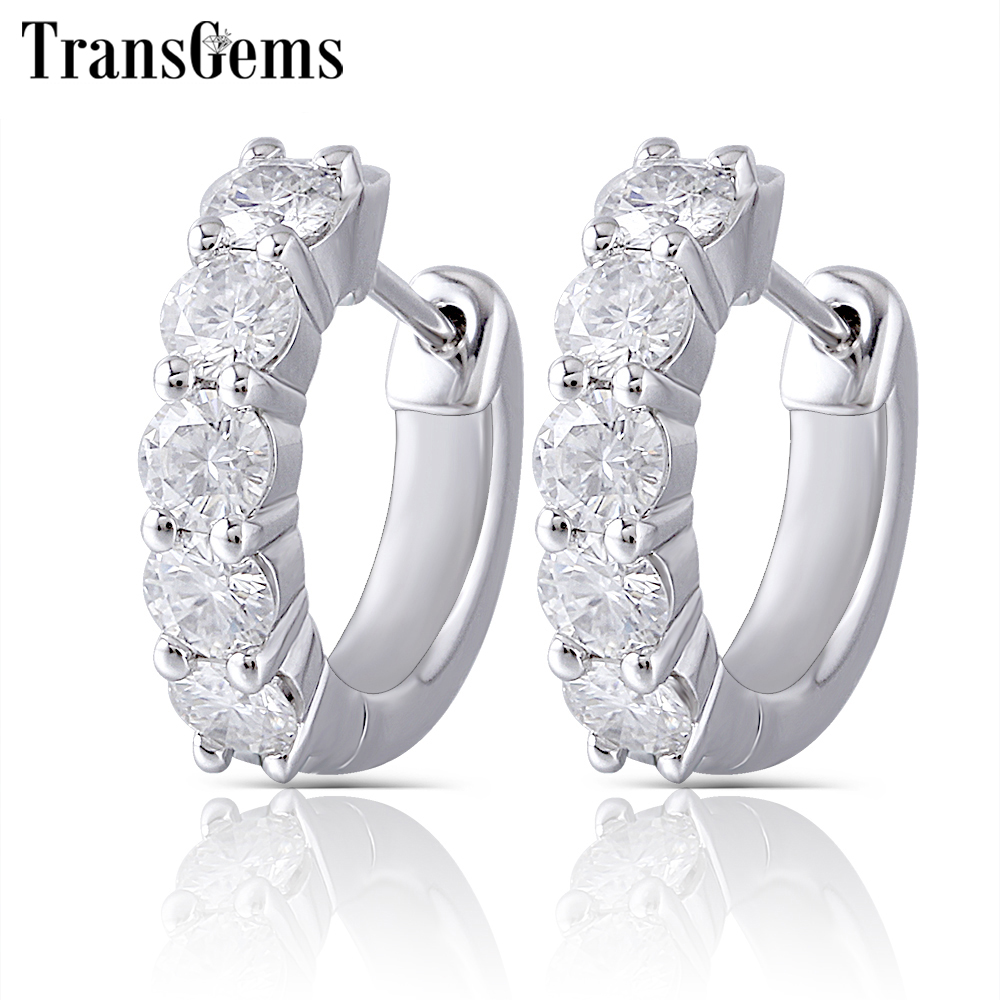Transgems Sterling Moissanite Hoop Earrings for Women 3.5mm H Color Moissanite Diamond Hoop Earrings Platinum Plated Silver glitter hoop stud earrings