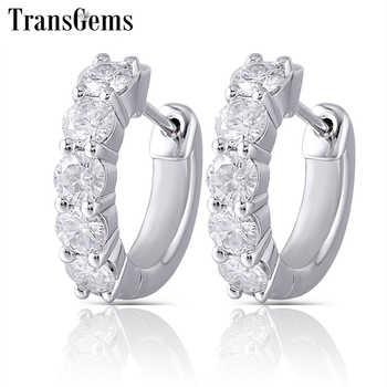 Transgems Sterling Moissanite Hoop Earrings for Women 3.5mm H Color Moissanite Diamond Hoop Earrings Platinum Plated Silver - Category 🛒 Jewelry & Accessories