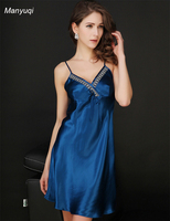 Pure Silk Women's Stain Nightgown Slip Chemise Sexy Lingerie Nightdress with Lace sleepwear Solid Home Nightgowns Women
