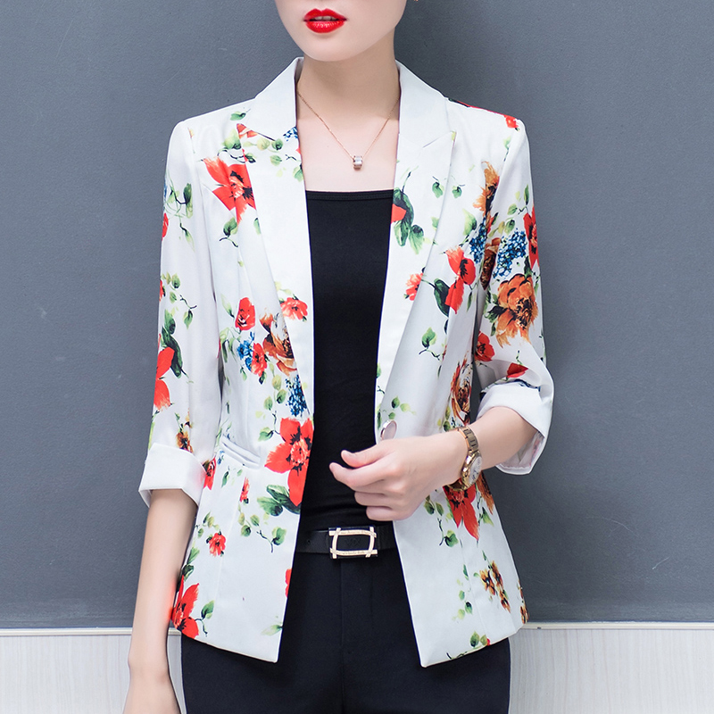 Blazers 2019 Spring Blazer Feminino Stand Neck Design Blue Korean Print Slim Women Office Work Suit Female Jackets Plus Size 3xl