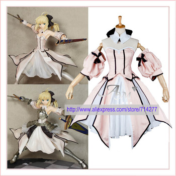 Free shipping Custom cheap saber lily cosplay Costum (pink) from Fate Stay Night Anime clothing Christmas