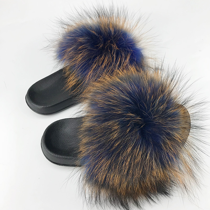 28 Colors Real Fur Slippers Women Fox Fluffy Sliders Comfort with Feathers Furry Summer Flats Sweet Ladies Shoes Plus Size