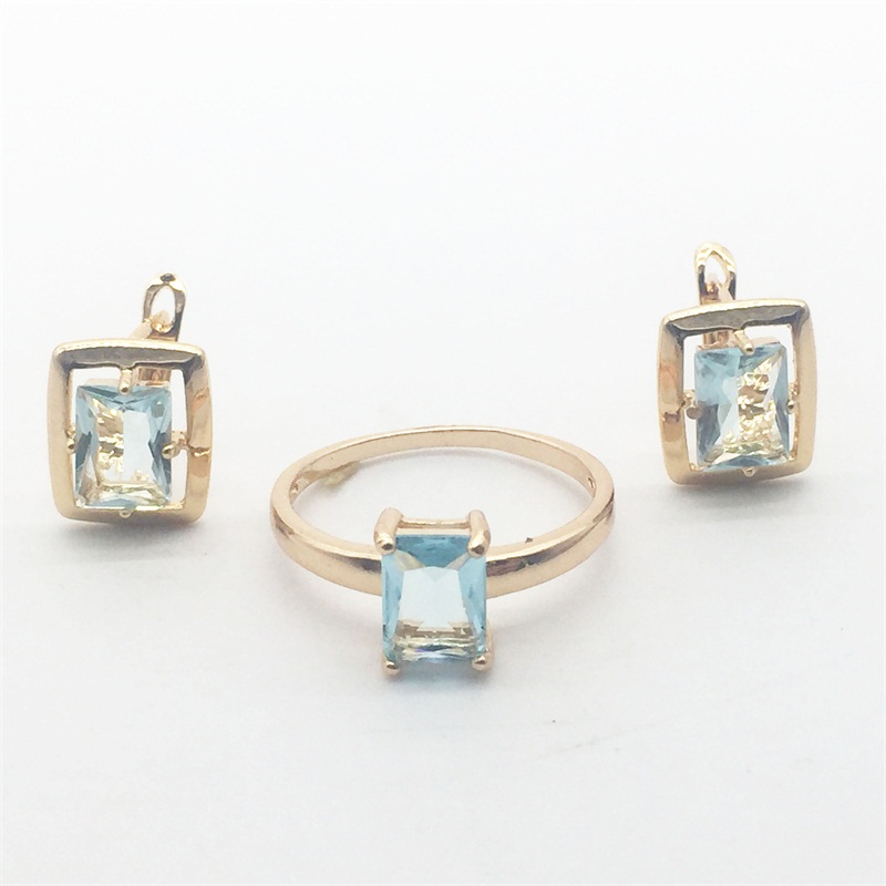 Free Shipping Rectangle Blue Crystal Gold Colour Earrings Ring Set