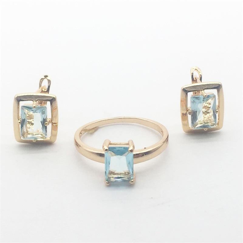 Livraison Gratuite Rectangle Bleu Cristal Or Couleur Boucles D'oreilles Anneau Ensemble