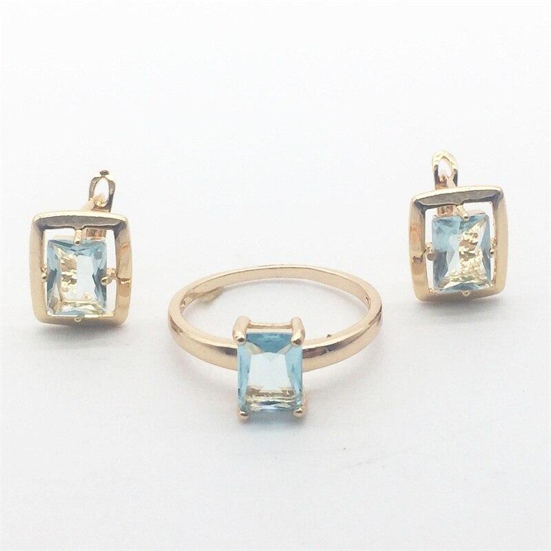 Spedizione Gratuita Rettangolo Blu Cristallo Oro Colore Set Orecchini Ad Anello