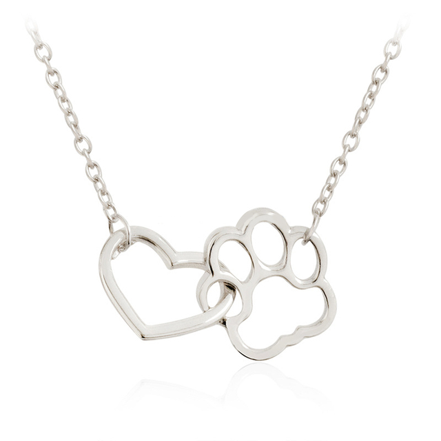 Hollow Pet Paw Footprint Necklaces Shellhard Cute Animal Dog Cat Love Heart Pendant Necklace For Women Girls Jewelry Necklace 4