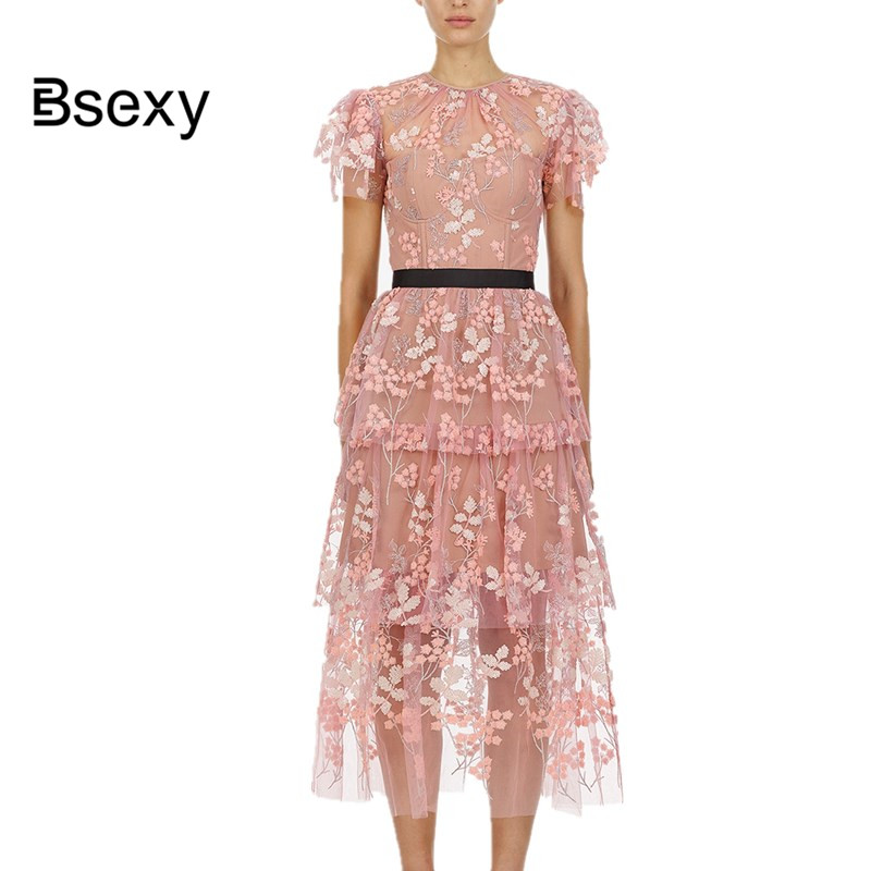 vestidos verano 2019 Self Portrait Women Pink Long Dress Cute See Though Flower Embroidery Mesh Party