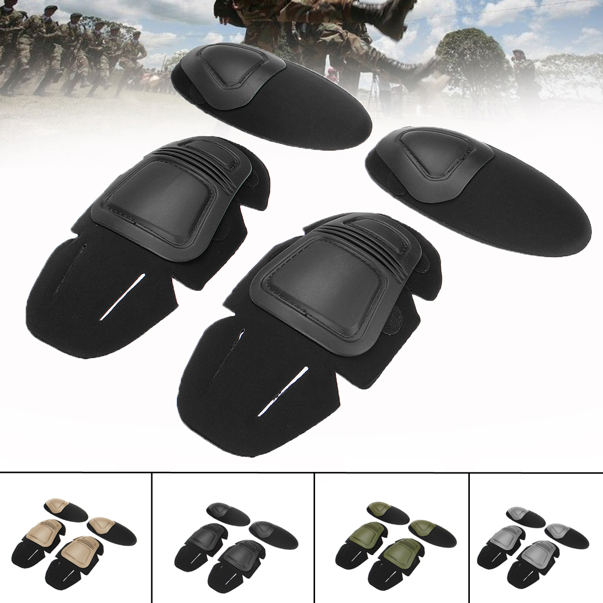 все цены на Military Tactical Knee and Elbow Protector Pad Combat Uniform Set Insert Protective Gear Knee Elbow Pads