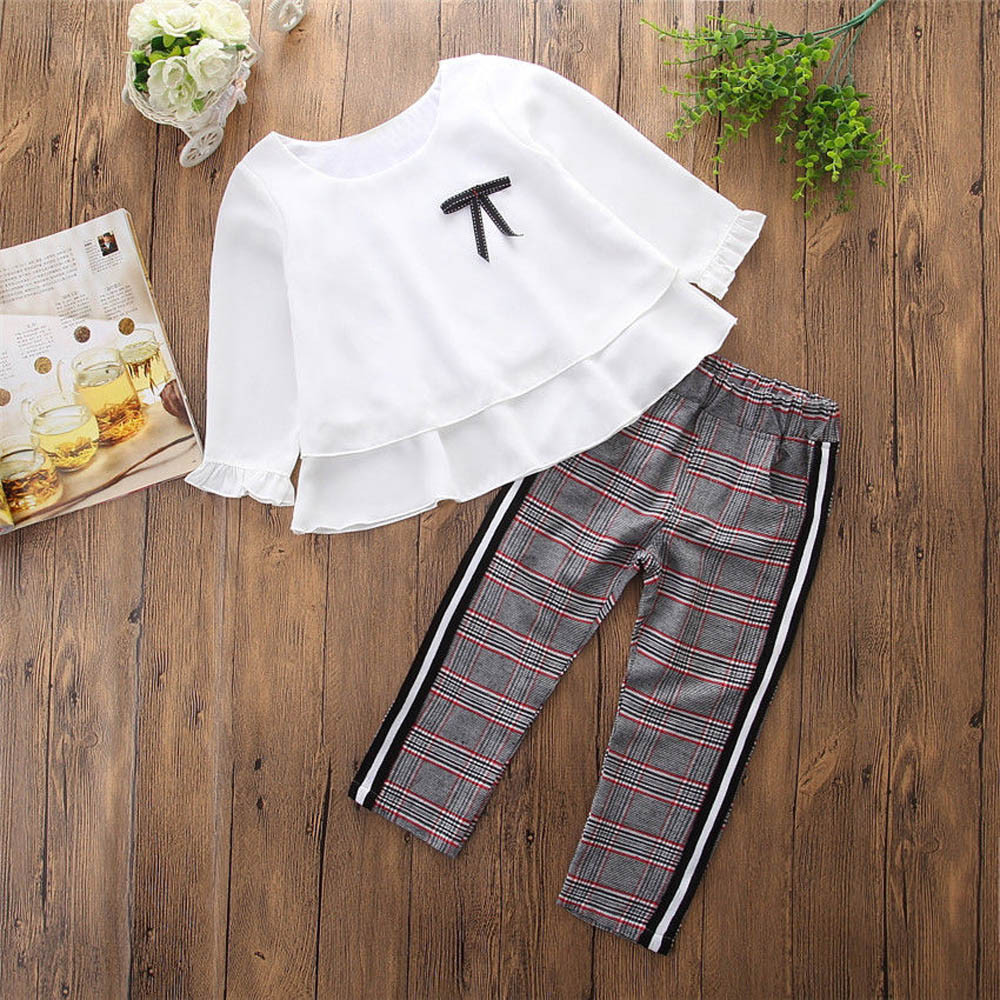 db0f078d84a8e Toddler Baby Kids Girls Outfits Ruffle T Shirt Tops+Checked Pants Clothes  Set Long Sleeves Winter Autumn Clothes Outfits T#   Mikes Wholesale Mart