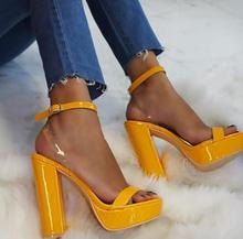 Newest Yellow Patent Leather High Heel Sandal Summer PVC Pathwork Platform Thick Heels Shoes Woman Gladiator