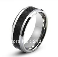 Free Shipping Buy Cheap Price Jewelry USA Brazil Russia HOT Selling 8MM Mens Black Carbon Fiber Silver Tungsten Wedding Ring