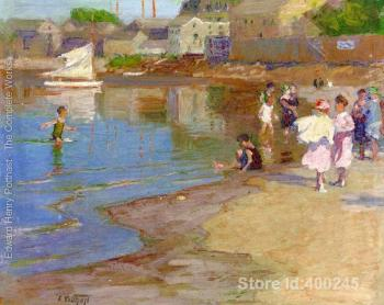 paintings of Edward Henry Potthast Children Playing at the Beach reproduction Oil on canvas High quality Hand painted