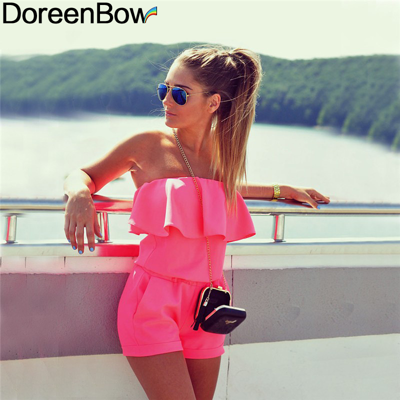 DoreenBow Polyester Sexy Dress High Quality Women Fashion Off Shoulder One-Piece Tube Top Ruffles Dress Pink 3 Sizes, 1 Piece