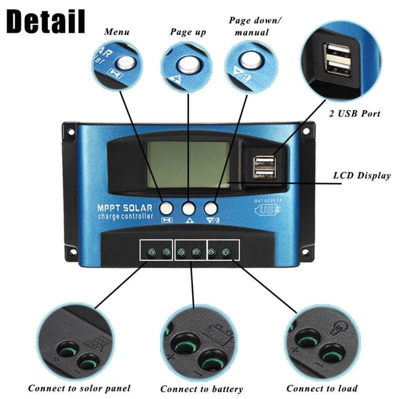 MPPT Solar Laderegler 30/40/50/60/100A Dual USB LCD Display 12 v 24 v Auto Solarzelle Panel Ladegerät Regler mit Last