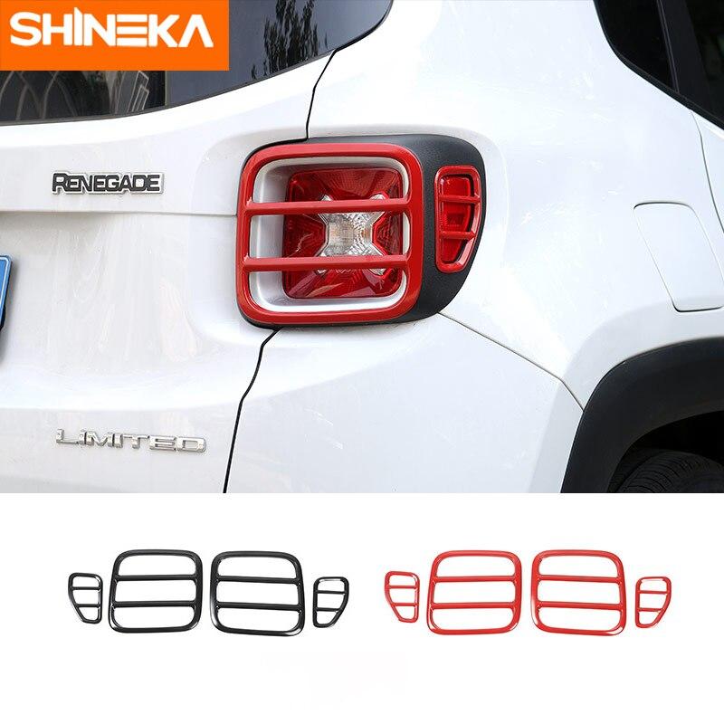 SHINEKA 車スタイリングテールリアテールランプガード金属カバーフレームのためのジープ Renegade 2016 2017 2018  グループ上の 自動車 &バイク からの 車のステッカー の中 1