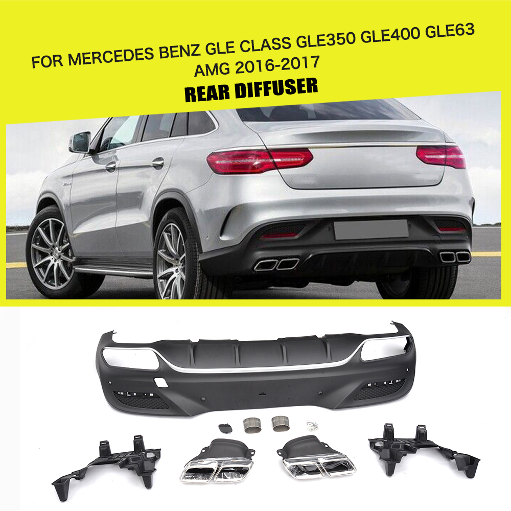 PP Car Rear Diffuser With Exhaust Muffler For Mercedes-Benz GLE Class GLE350 GLE400 GLE63 AMG Coupe 2 Door 2016 - 2017