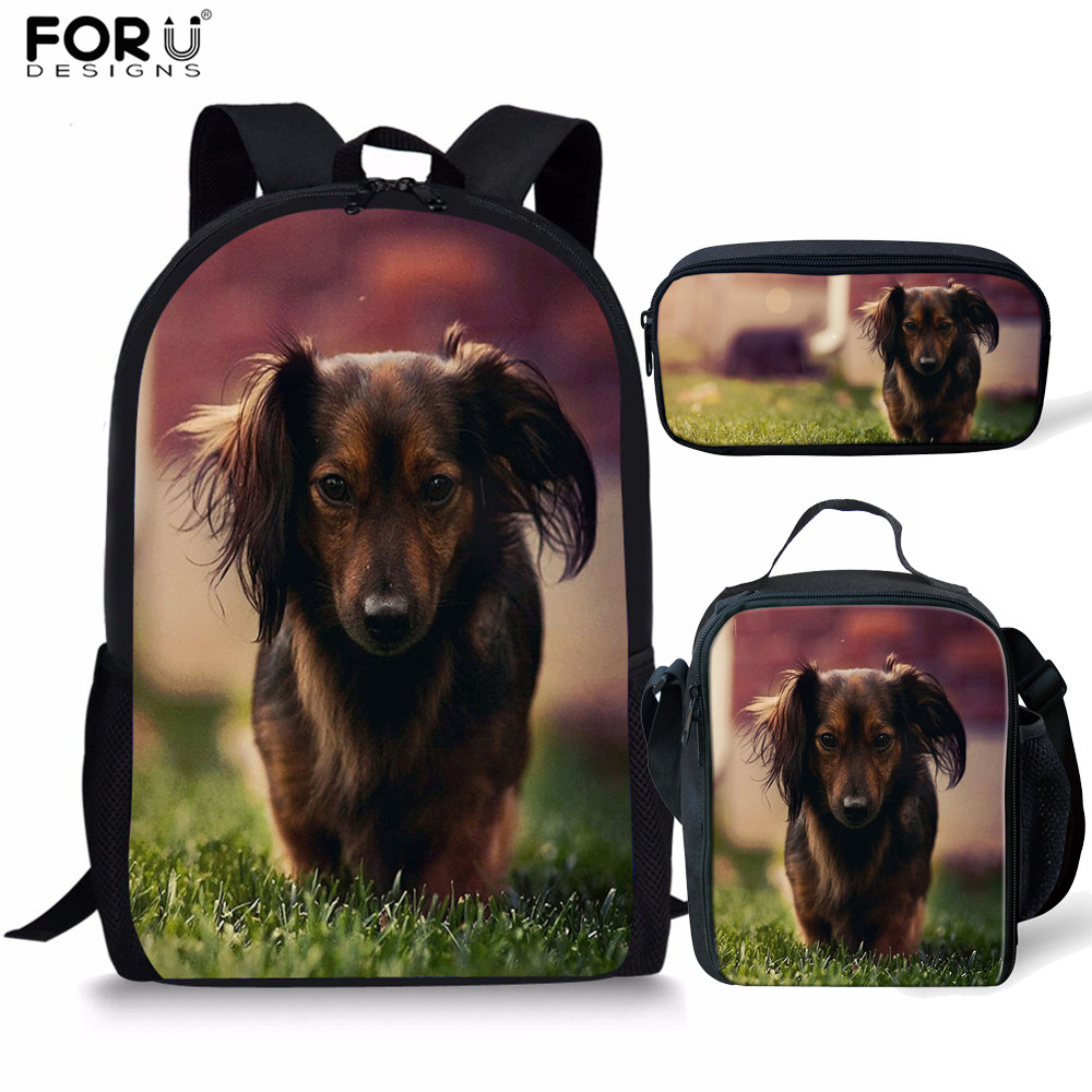 FORUDESIGNS 3pcs/set Dachshund Dog Pattern School Bags For Girls And Boys School Backpack Orthopedical Children Mochila Escolar