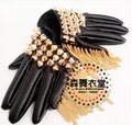 New style fashion black  leather bra ds singer gloves gold and silver rivet dance wear stage show performance