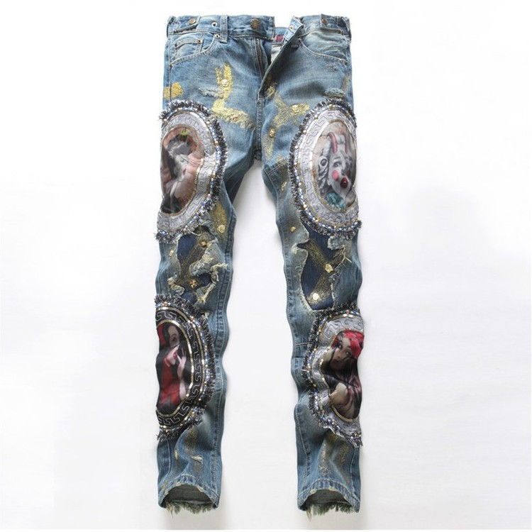 New Slim Hole Biker Jeans Straight Embroidered Patch Jeans Men Fashion Denim Pants Casual Long Trousers