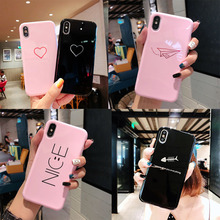 Lovely Couple  Epoxy Phone Case For iPhone X XR XS Max 8 7 6 plus Matte Black Pink Soft Cases Pure Color Shockproof Back Cover