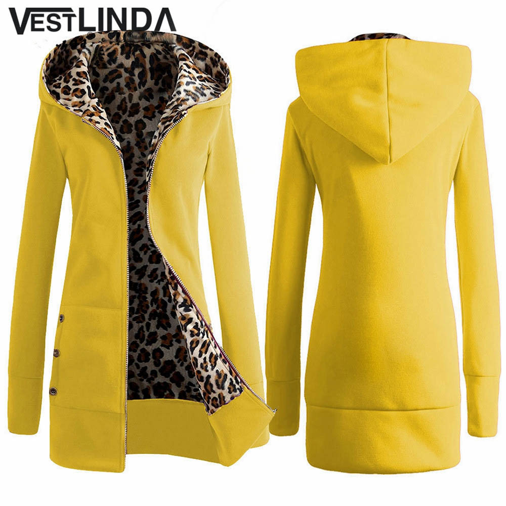 VESTLINDA Plus Size Women Winter Coat Trendy Hooded Women Outerwear Sweatshirts Stylish Leopard Print Zipper Coat Casual Jacket 1