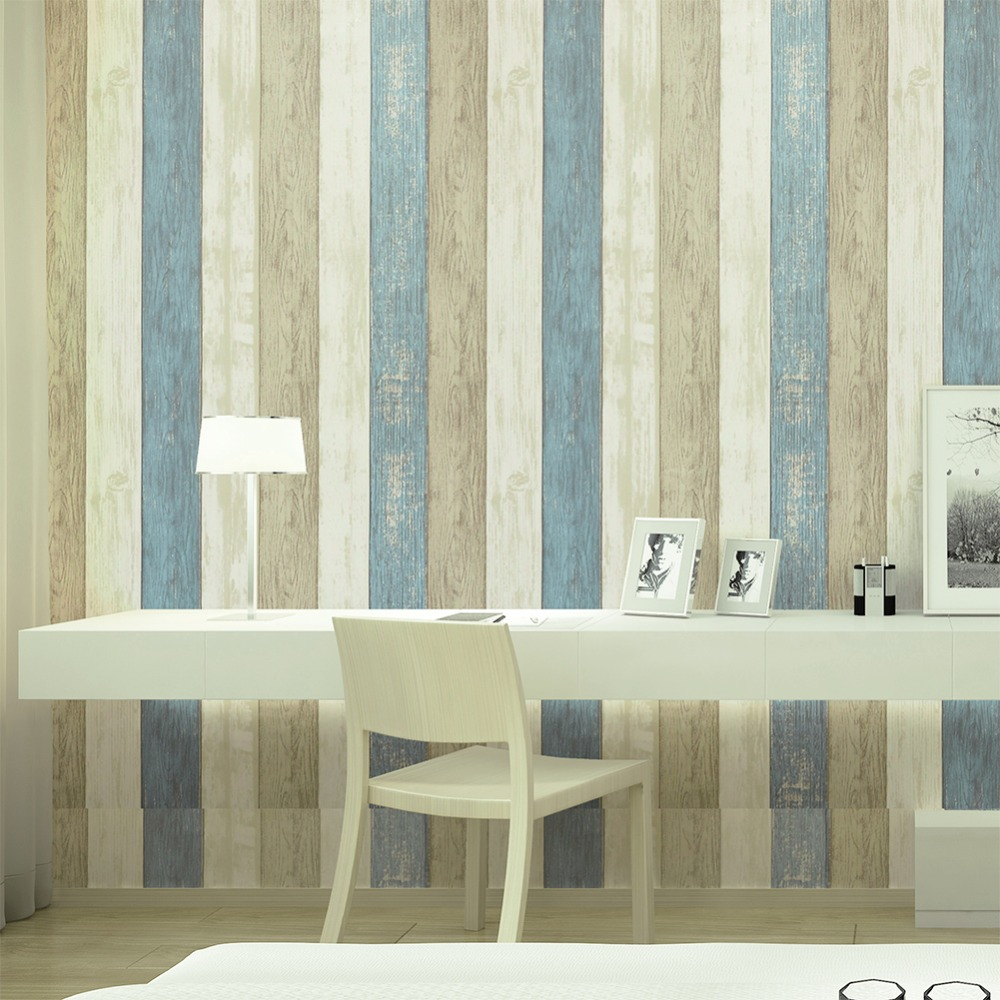 Haokhome wood strip panel peel and stick wallpaper sea blue cream tan self adhesive contact living room home wall decoration