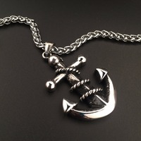 Mens Fashion Jewelry Anchor Pendant Hip Hop Charm Snake Link Chain Necklace Free Shipping