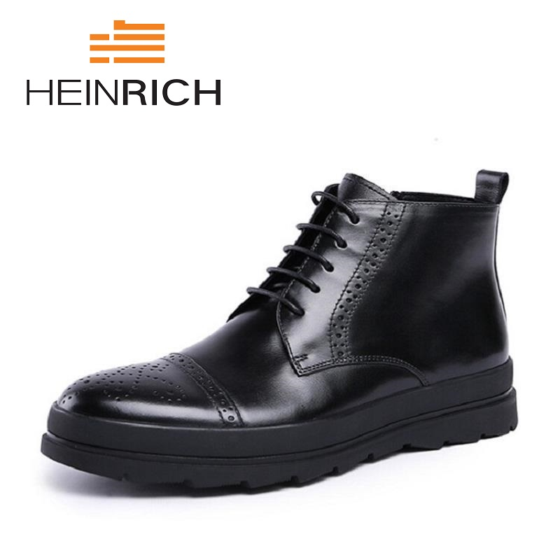 HEINRICH New Fashion Lace-Up  Boots High Quality Genuine Leather Men Ankle Boots Vintage Casual Shoes Laarzen DamesHEINRICH New Fashion Lace-Up  Boots High Quality Genuine Leather Men Ankle Boots Vintage Casual Shoes Laarzen Dames