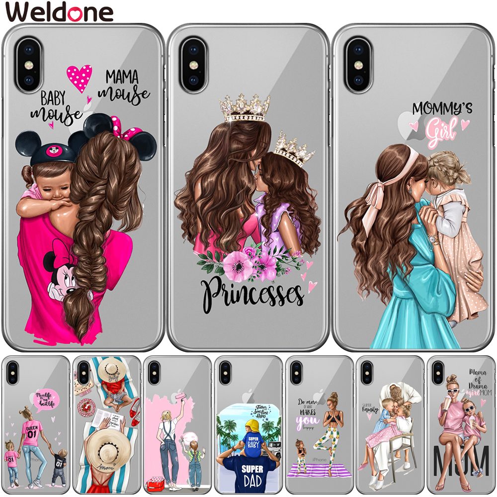 Fashion <font><b>Girls</b></font> Super Mom Baby Dad Phone Case <font><b>For</b></font> <font><b>iPhone</b></font> XS Max XR X 7 6s 8 Plus 5S SE Family mom baby <font><b>girl</b></font> case <font><b>Cover</b></font> etui Coque image