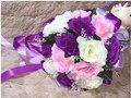 2017 dama de Honor Nupcial de La Boda Bouquet Barato Nueva Púrpura y Blanco Hecho A Mano Artificial Flor del Peony Ramos De La Boda Ramos de Novia