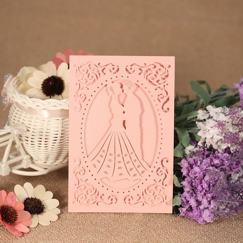 20pcs Wedding Invitation Card Laser Cut Bridal Bridegroom Pattern Invitation Cards Pearl Paper Wedding Anniversary Party Favor