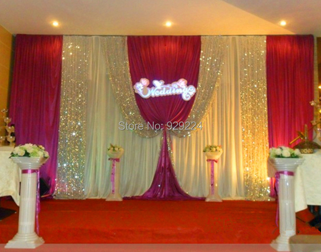 Wedding supplies Wedding Backdrop with Beatiful Swag Wedding drape and curtain wedding decoration 10ft*20ft