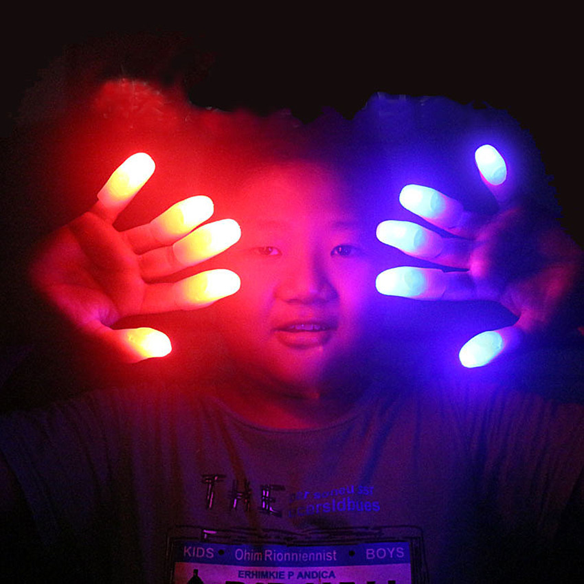 5Set Funny Novelty Electronic LED Light Flashing Fingers Magic Trick Props Children Luminous Decor Gift Kids Amazing Glow Toys
