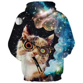 Smoking Cat in the Galaxy Hoodie 1