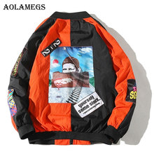 Aolamegs Jackets Men Patchwork Jacket Bomber Tracksuit Zipper Hip Hop Male Windbreaker Fashion Couple Streetwear