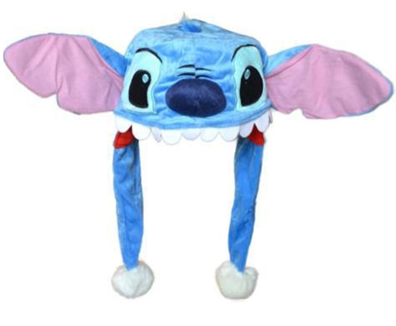 Anime Cartoon Blue Stitch Plush Hats Dolls Stuffed Toys Cosplay Winter Hat Cap