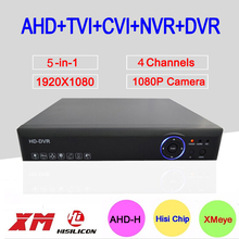 Hi3520D DVR 4 Channel 4CH 1080P 2MP 5 in 1 Coaxial Hybrid Onvif NVR TVI CVI AHD DVR Surveillance Video Recorder Free Shipping