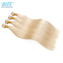 "BHF 100% Human Hair Weft Straight Russian Machine Made Remy Natural Hair Weave one Piece 100g 18"" to 28"" Platinum Blonde Color(China)"