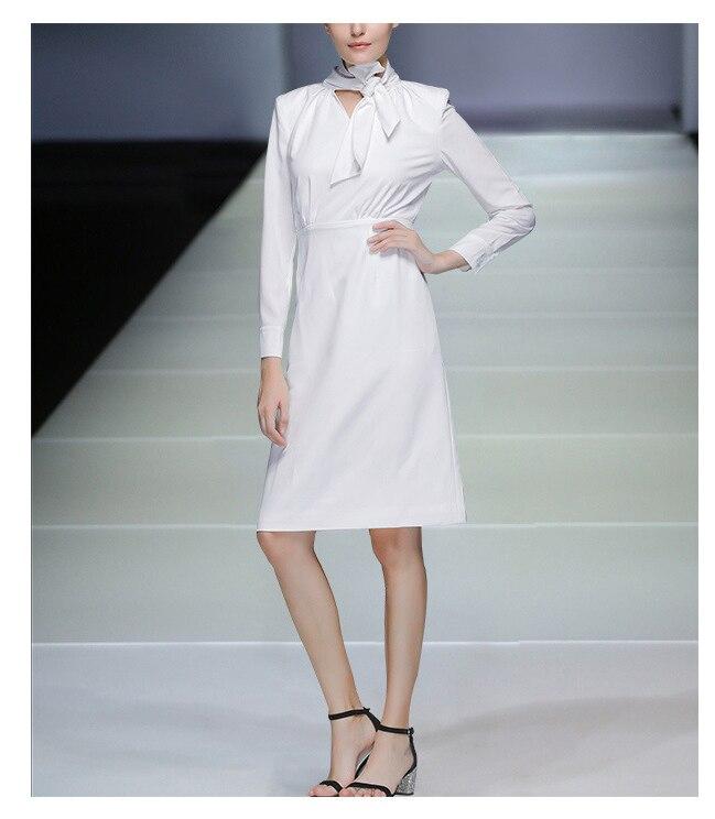 High Quality Autumn Fashion Women Dress 18 New Solid Long Sleeve Bow Collar Elegant Knee-Length Dresses Vestidos C2361 5