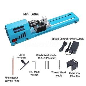 Image 2 - Mini bricolage 150W tour à bois perle Machine de découpe perceuse polissage travail du bois fraisage outil