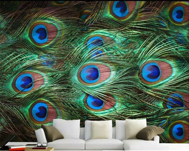 Beibehang Custom Wallpaper HD Peacock Feather Close Up Simple TV Background Wall Paper Living Room