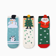 free shipping 300PCS/LOT New Women Christmas Sock Lady Girl Cotton Snowflake Deer Printed Socks Christmas Hosiery Gift