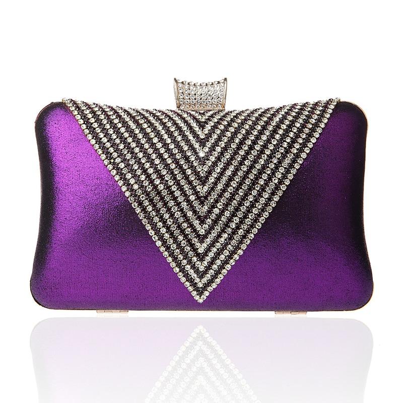 Luxury Rhinestones Crystal Evening Clutches Bag Wedding Dress Bridal Diamond Chains Shoulder Handbags Purple Purses Day