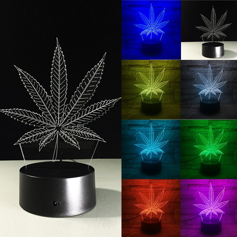 New 3D Leaves Art Lights Colorful Touch LED Visual Decoration Atmosphere Lamp