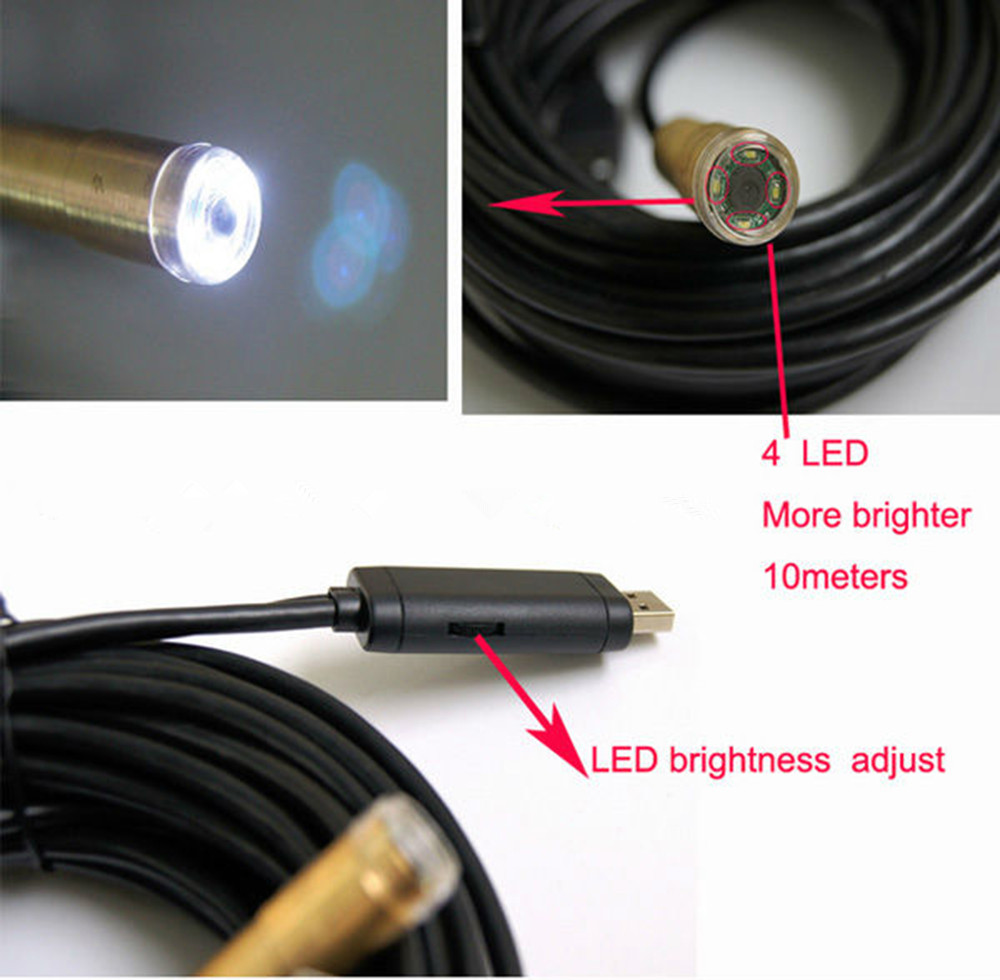 USB Endoscope Inspection camera TM-IC30E lens 14MM with 4 LED snake Camera 30m Cable waterproof IP67 for PC endoscope USB2.0 кабели межблочные аудио tchernov cable special mk2 ic 4 35m