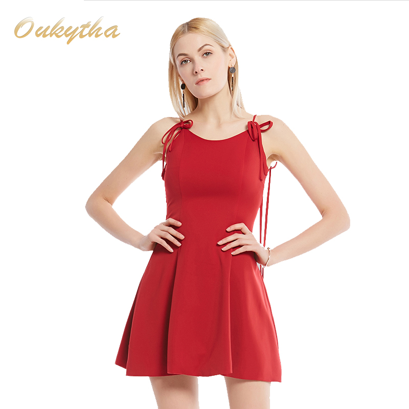 The New Spring And Summer 2017 Sexy Red Strapless Dress Wind Wine V Collar Waist Low